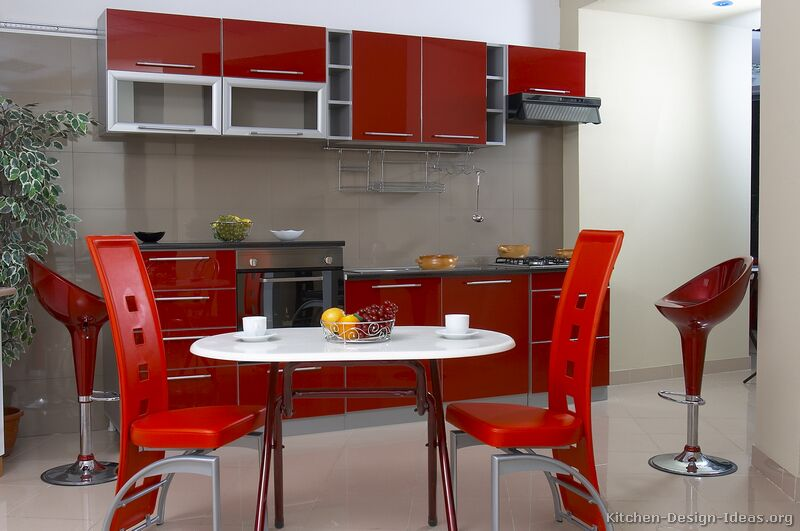 Red And Gray Kitchen Ideas Part - 18: 01, Modern Two-Tone Kitchen