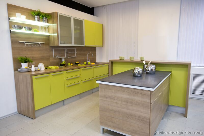 Pictures of kitchens modern two tone kitchen cabinets for Modern green kitchen designs