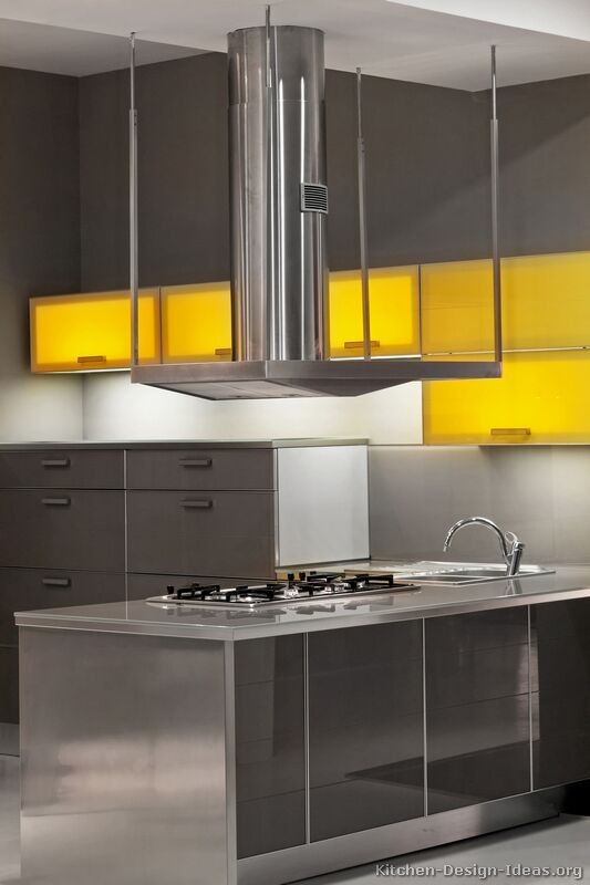 Contemporary kitchen cabinets pictures and design ideas for Yellow and gray kitchen