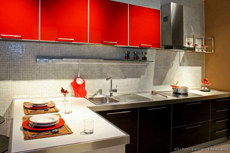 TT34  More Pictures Modern Red Kitchen Of Kitchens Cabinets Page 2