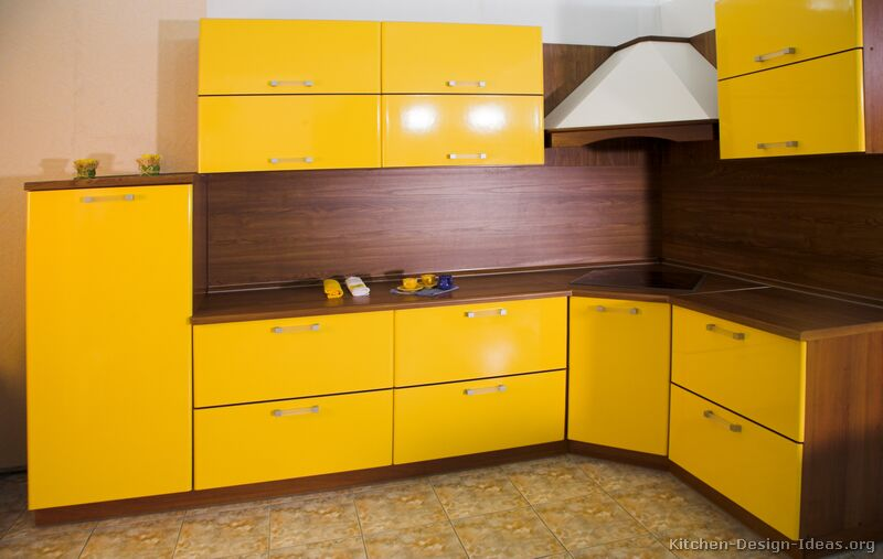 Yellow Kitchen Cabinets New With Yellow Modern Kitchen Cabinets Picture