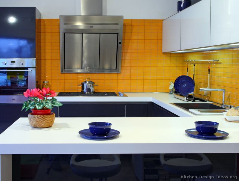 Pictures of kitchens modern two tone kitchen cabinets for Blue kitchen cabinets with yellow walls