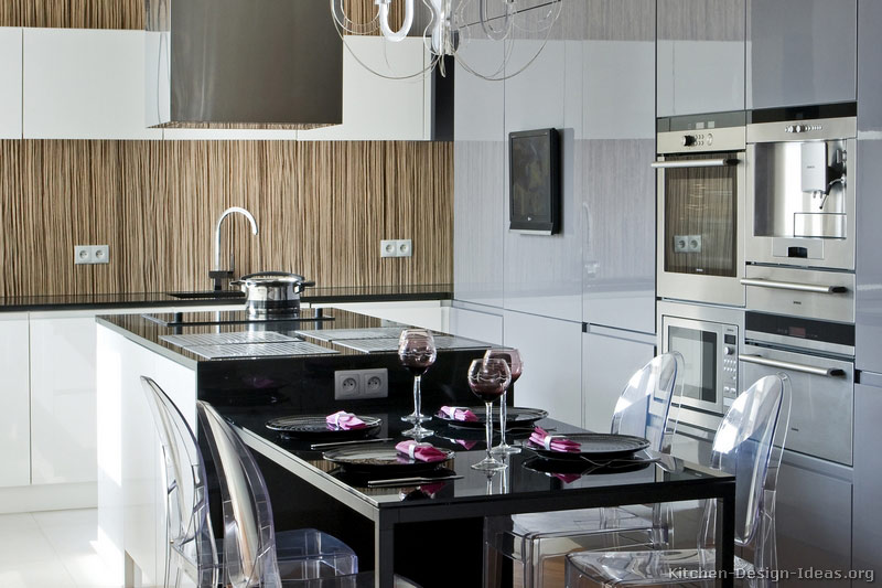 Contemporary European Kitchen Cabinets with an Island Hood and a Zebrawood Backsplash
