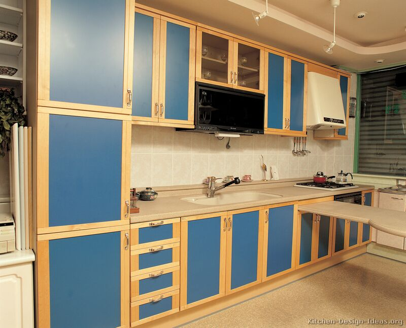 Pictures of kitchens modern two tone kitchen cabinets for Blue kitchen paint ideas