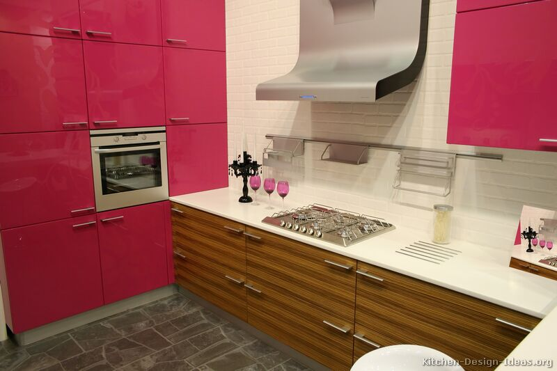 Modern Pink Kitchens - Pictures, Cabinets, Decor, & Designs
