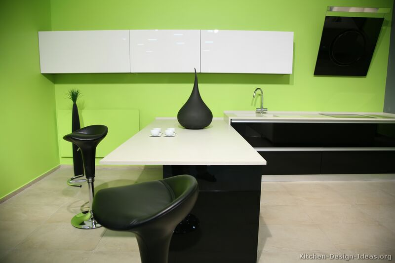 Pictures of kitchens modern black kitchen cabinets for Modern green kitchen designs