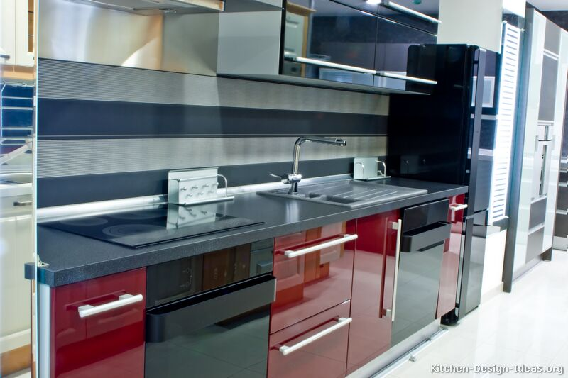 Black and red kitchen home designer for Dark red kitchen cabinets