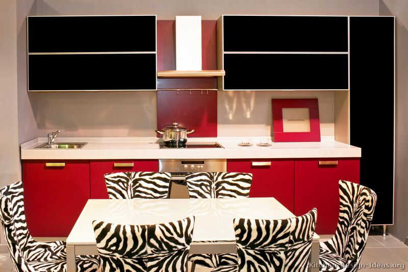 Pictures of kitchens modern red kitchen cabinets page 2 for Black and red kitchen designs