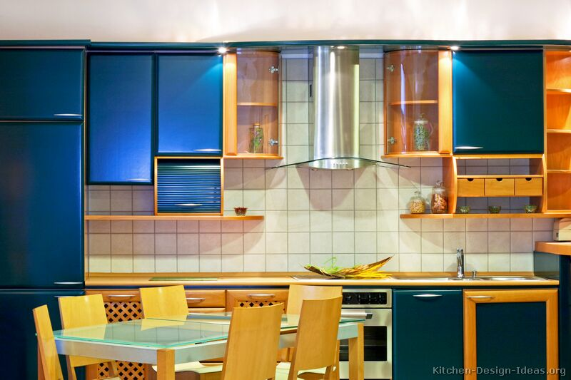 contemporary blue kitchen ideas | Modern Blue Kitchen Cabinets - Pictures & Design Ideas