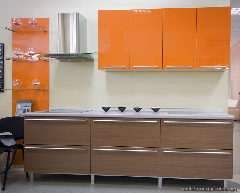 Pictures of modern orange kitchens design gallery for Laminate kitchen cabinets