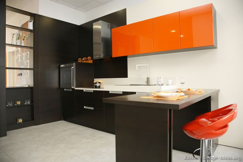 Pictures of modern orange kitchens design gallery for Dark orange kitchen