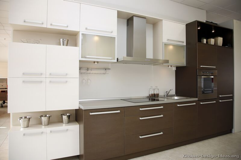 Modern white and brown kitchen cabinets for Brown kitchen designs