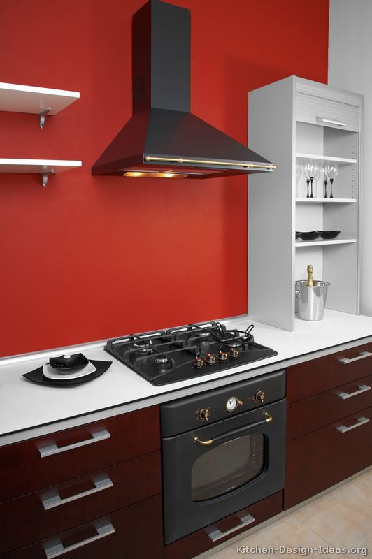 Red and white modern kitchen design bed mattress sale for Kitchen ideas white cabinets red walls