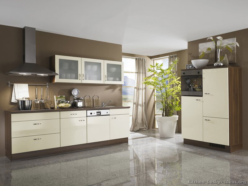 Pics for modern white and brown kitchen cabinets for 2 wall kitchen designs