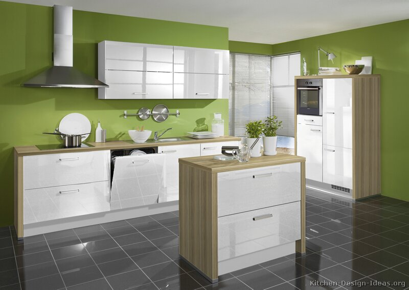 Pictures of kitchens modern white kitchen cabinets for Green and white kitchen designs