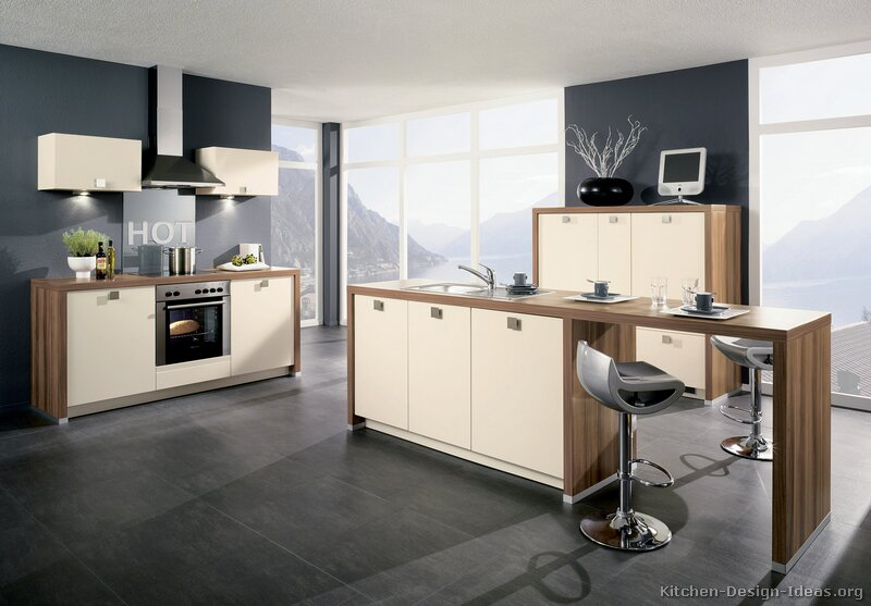 Modern Kitchen Design with Cool Gray Floors and Warm Toned Cabinets