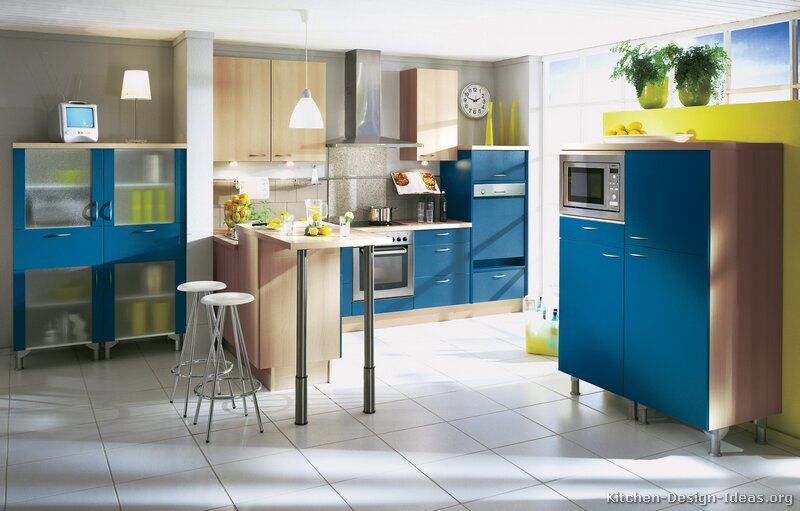 Black kitchen cabinets with glass doors for Blue kitchen cabinets with yellow walls
