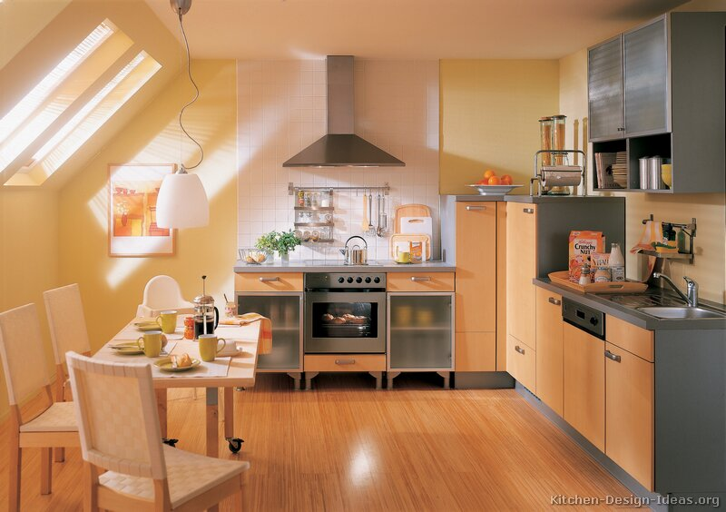 European Kitchen Cabinets Pictures and Design Ideas : kitchen cabinets modern two tone 157 A044a light wood gray wood floor yellow walls from www.kitchen-design-ideas.org size 800 x 564 jpeg 76kB