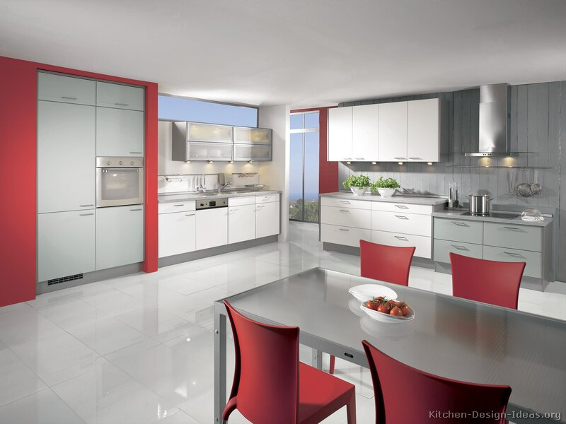 Modern kitchen furniture kitchen design ideas for Grey kitchen cabinets with red walls