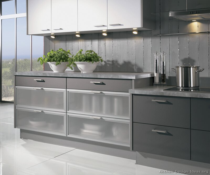 Glass Front Kitchen Cabinets Pictures Of Kitchens Modern Two Tone