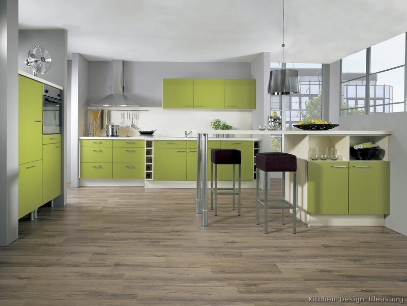 Pictures of kitchens modern green kitchen cabinets - Modern kitchens pictures ...