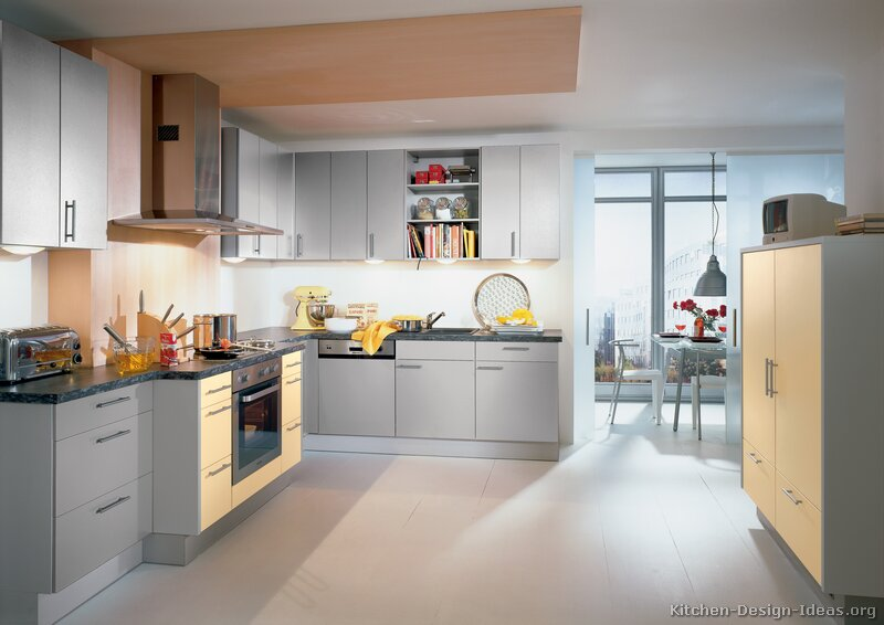 kitchen cabinets modern two tone 167 A057a light yellow light gray