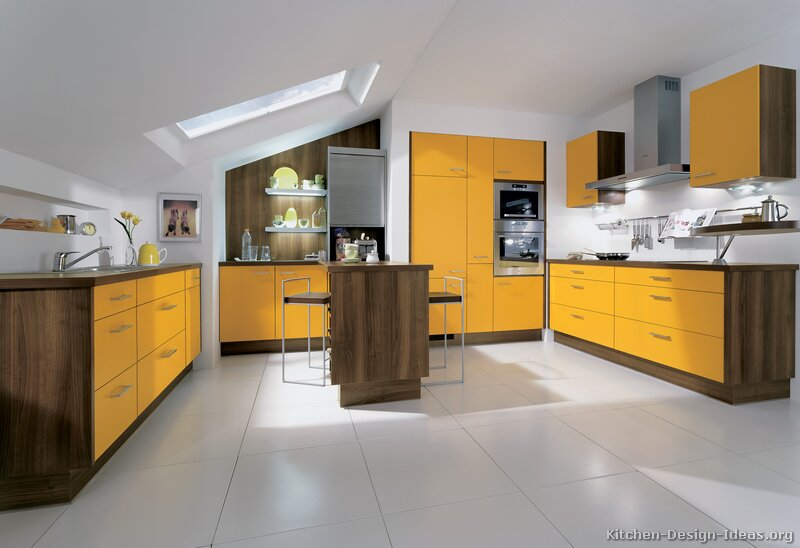 Pictures of kitchens modern two tone kitchen cabinets for Dark orange kitchen