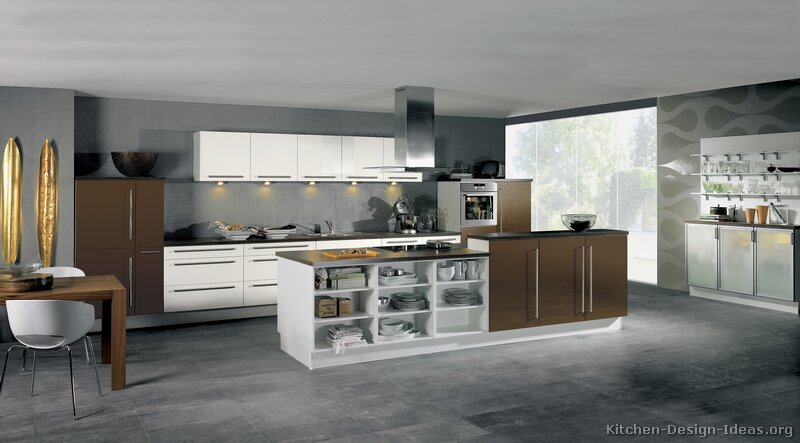 Pictures of kitchens modern two tone kitchen cabinets kitchen 173 - Modern kitchen ideas with brown kitchen cabinets ...