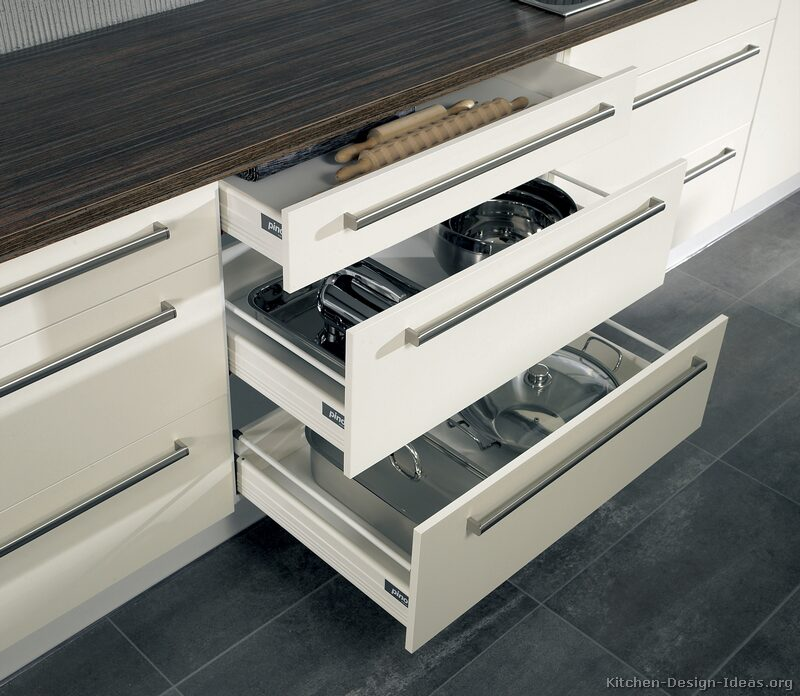 Pictures of kitchens modern two tone kitchen cabinets for Kitchen cabinets with drawers