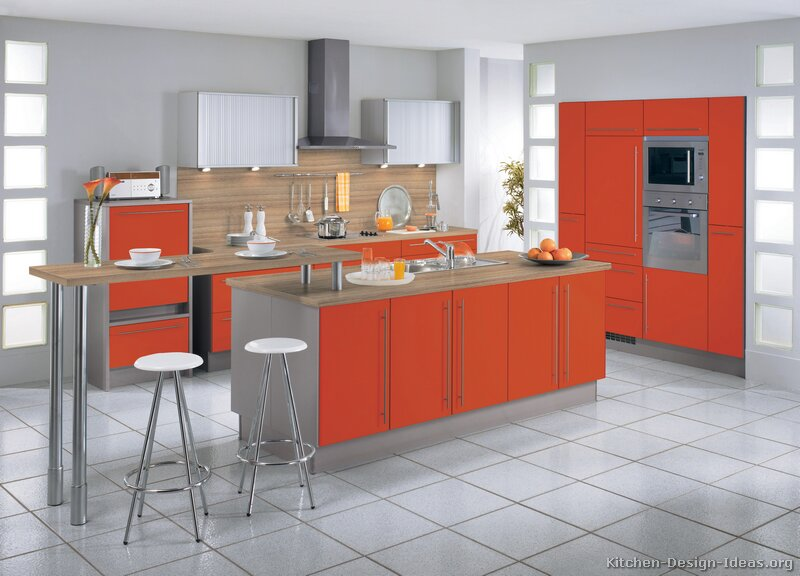 Pictures of modern orange kitchens design gallery for 2 wall kitchen designs