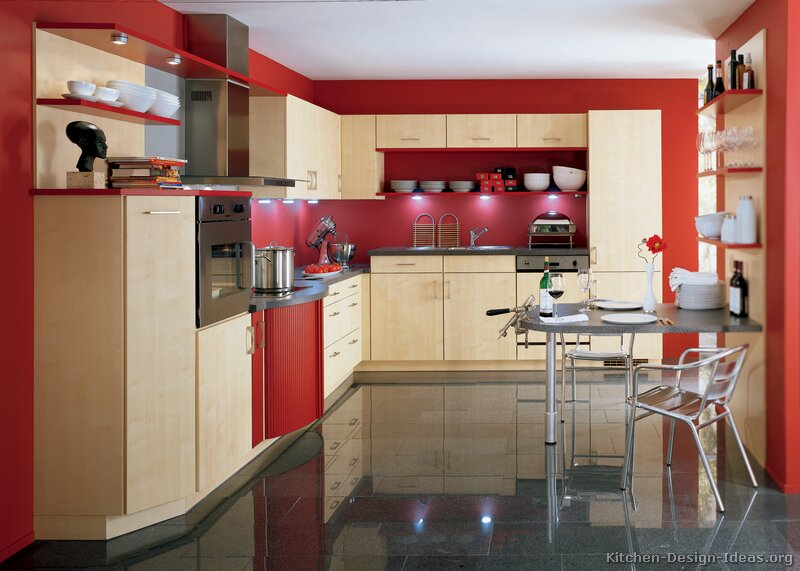 Pictures of kitchens modern two tone kitchen cabinets for Grey kitchen cabinets with red walls