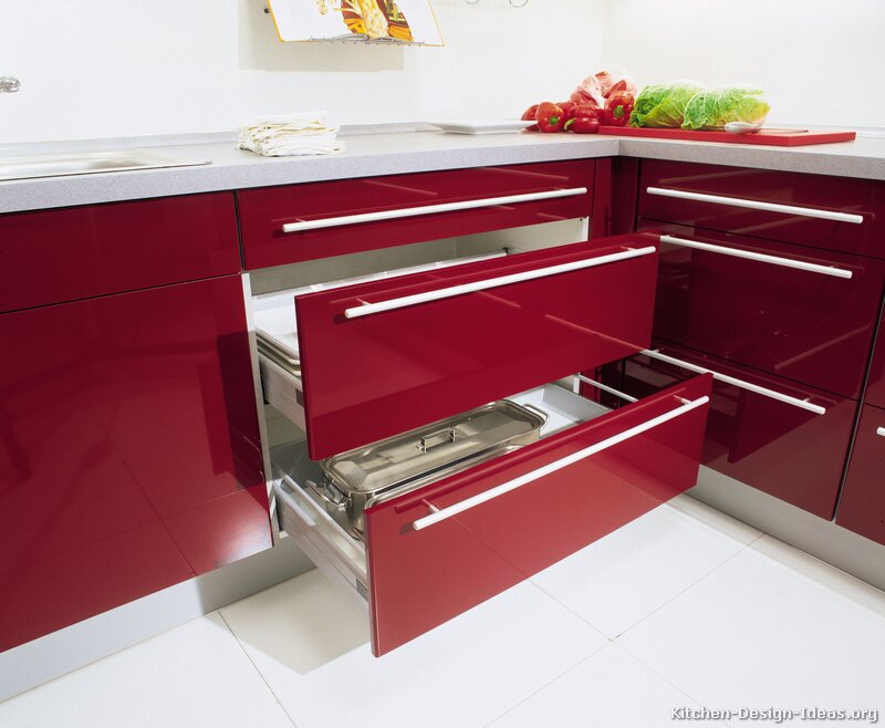 Pictures of kitchens modern two tone kitchen cabinets kitchen 185 - Red and white kitchen cabinets ...