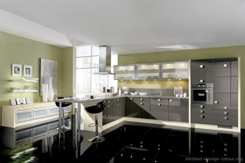 Kitchen Black Floor Grey Walls White Cabinets photo - 7