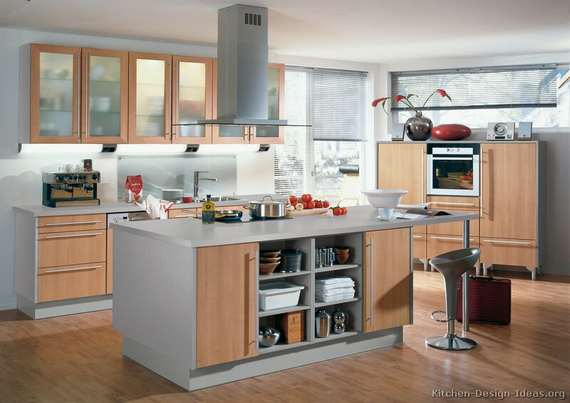 Pictures of kitchens modern light wood kitchen for Grey wood kitchen cabinets