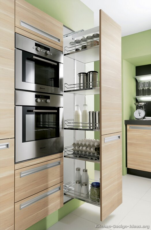Pictures of kitchens modern two tone kitchen cabinets for Modern kitchen pantry