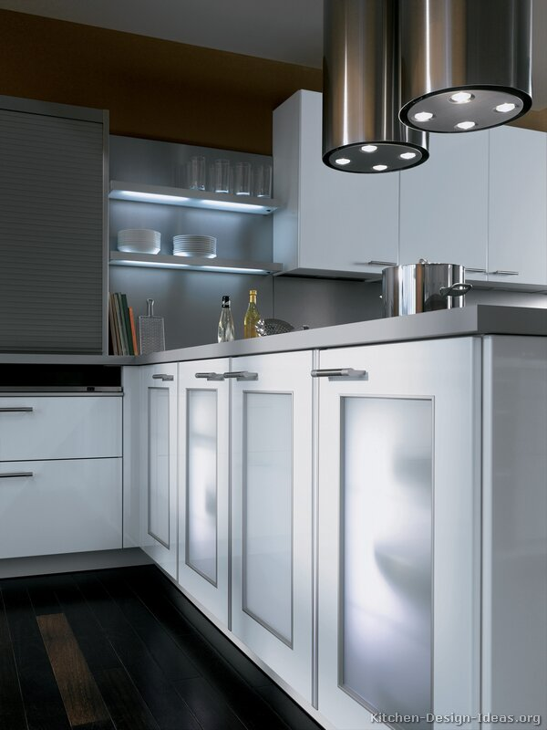 Frosted glass cabinet doors and lighted shelves