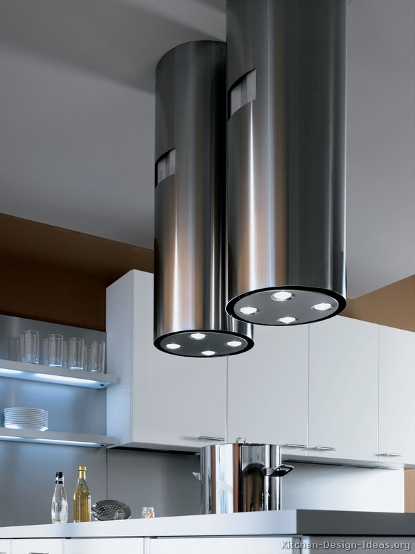 Modern dual chimney hoods each contain four lights
