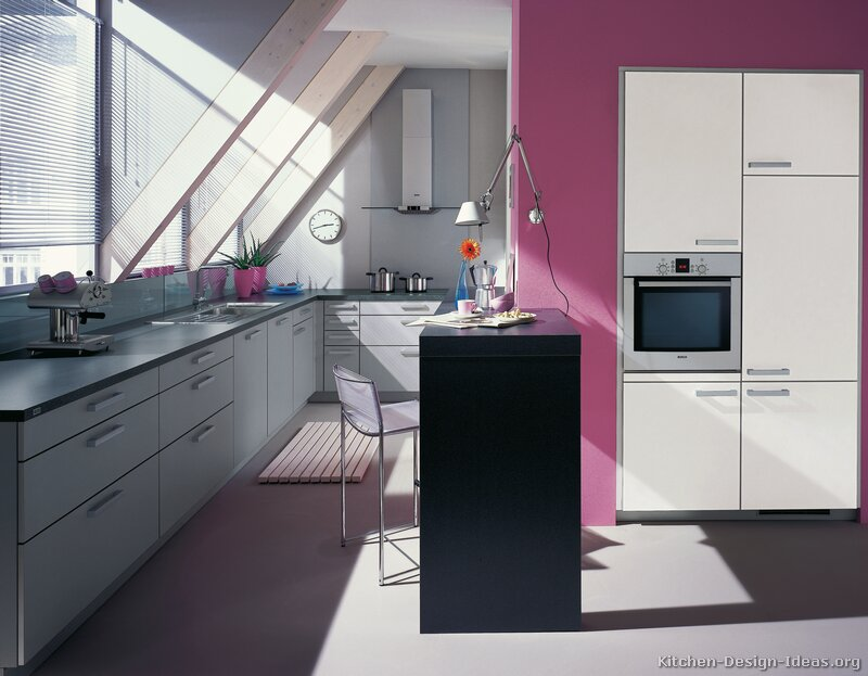 splash of the color pink transforms this monochromatic kitchen into