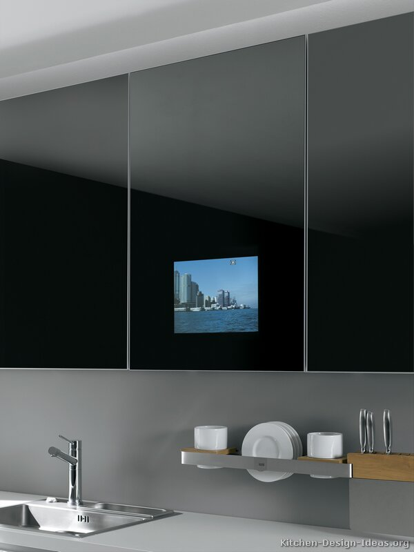 Pictures of kitchens modern two tone kitchen cabinets for Tv in kitchen design