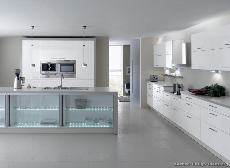 Pictures of kitchens modern two tone kitchen cabinets for Built in kitchen cupboards for a small kitchen