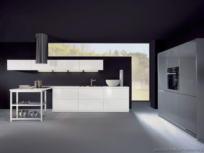 Pictures of kitchens modern white kitchen cabinets for White walls black ceiling