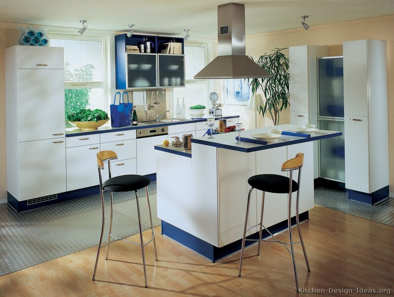 Pictures of kitchens modern white kitchen cabinets for White and blue kitchen ideas