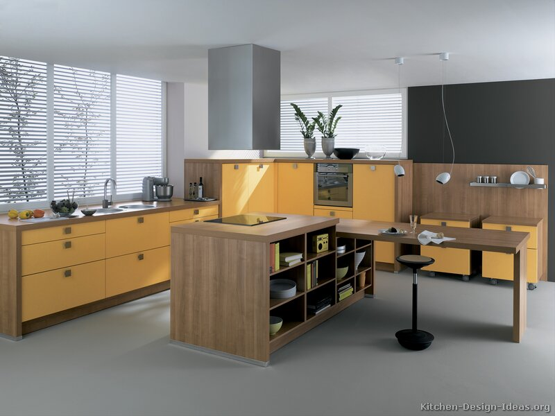 Pictures of modern orange kitchens design gallery for Modern yellow kitchen cabinets