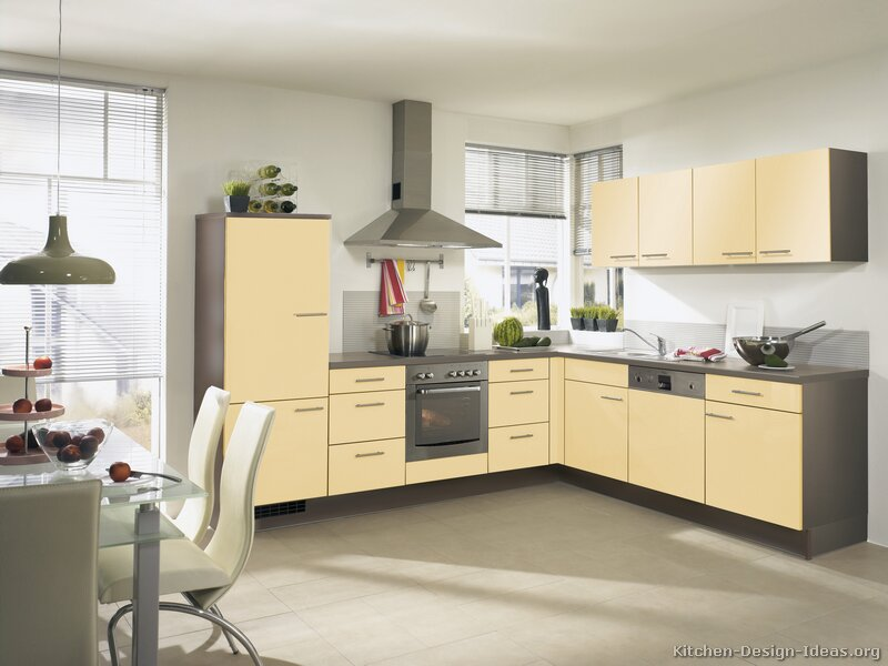 Pictures of kitchens modern two tone kitchen cabinets for Buttery yellow kitchen cabinets