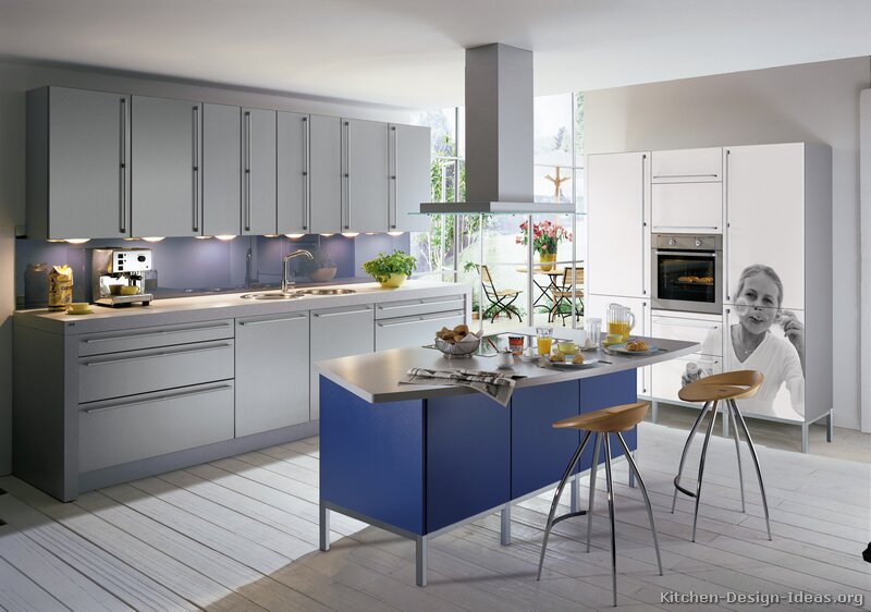 Download image Blue Gray Kitchen White Cabinets PC, Android, iPhone