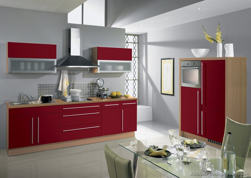 Pictures of kitchens modern red kitchen cabinets page 2 for Kitchen ideas white cabinets red walls