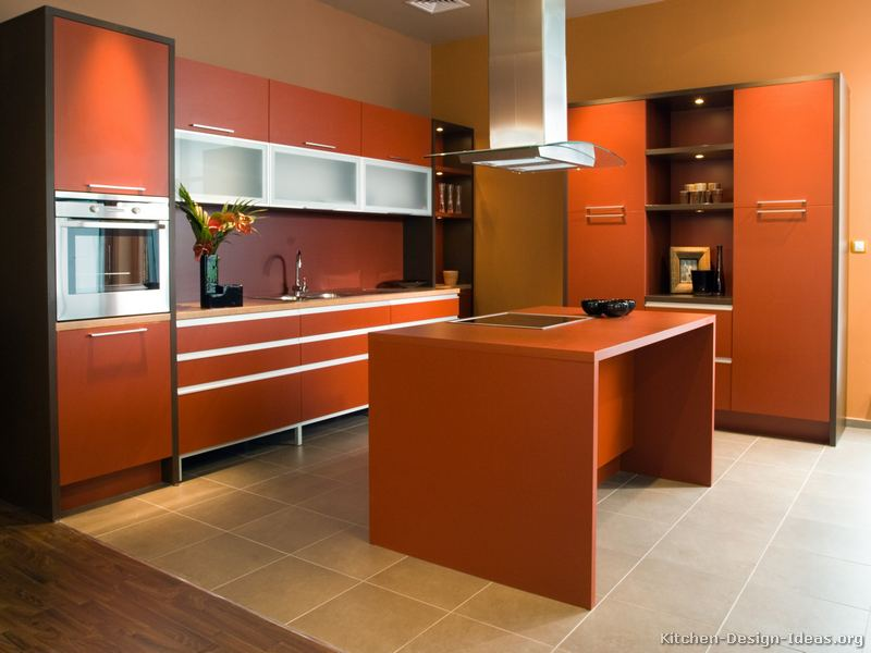 Pictures of modern orange kitchens design gallery for Kitchen designs and colours schemes