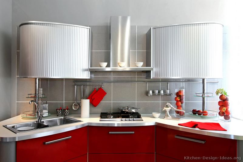Red and Gray Kitchen Cabinets
