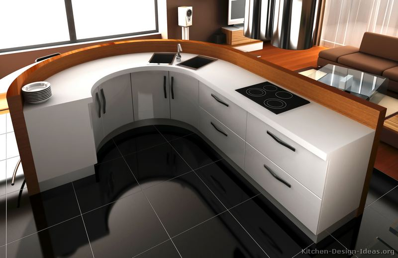A Contemporary White Kitchen with Curved Cabinets (3D)