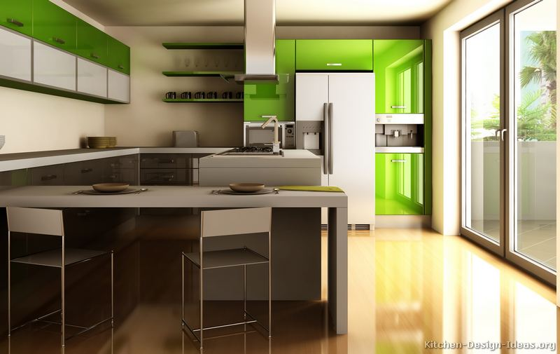 An Ultra Modern Kitchen With Glossy Green Cabinets: modern green kitchen ideas
